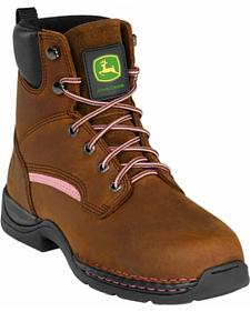 John Deere Women's Lace-Up Work Boots - Steel Toe