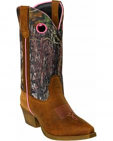 John Deere Camo Crazyhorse Leather Cowgirl Boots - Snip Toe