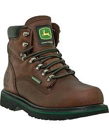 "John Deere Men's Leather 6"" Waterproof Lace-Up Work Boots"
