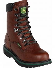John Deere Men's Waterproof Lace-Up Work Boots - Round Toe