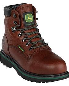 "John Deere Men's Leather 6"" Lace-Up Work Boots - Steel Toe"