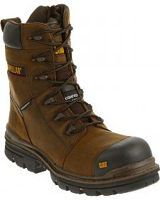 "Caterpillar Men's Brown Mortise 8"" Waterproof Work Boots - Composite Toe"