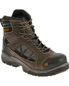 """Caterpillar Men's Compressor Grey 6"""" Waterproof Work Boots - Composite Toe"""