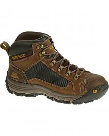 Caterpillar Men's Light Brown Convex Mid Work Boots - Soft Toe