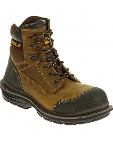 "Caterpillar Men's Brown Fabricate 6"" Tough Waterproof Work Boots - Soft Round Toe"