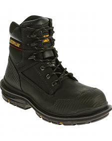 "Caterpillar Men's Black Fabricate 6"" Tough Waterproof Work Boots - Composite Toe"