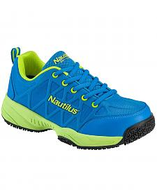Nautilus Women's Blue and Green Athletic Work Shoes - Composite Toe