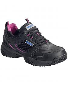 Nautilus Women's Black and Pink Athletic Work Shoes - Steel Toe