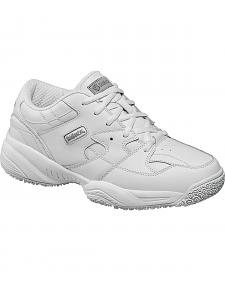 SkidBuster Men's White Slip-Resistant Athletic Work Shoes