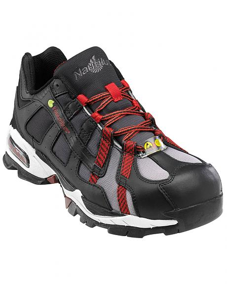 Nautilus Men's Black and Red Athletic Work Shoes - Alloy Toe