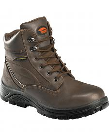 "Avenger Men's Brown Waterproof 6"" Lace-Up Work Boots - Steel Toe"