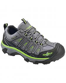 Nautilus Men's Grey and Neon Yellow Waterproof Low-Top Work Shoes - Steel Toe