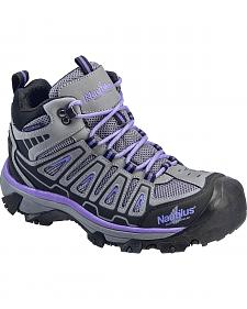 Nautilus Women's Grey and Purple Lightweight Waterproof Hiker Work Boots - Steel Toe