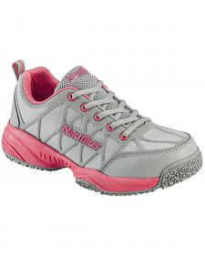 Nautilus Women's Grey and Pink Athletic Work Shoes - Composite Toe