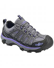 Nautilus Women's Grey and Purple Waterproof Low-Top Work Shoes - Steel Toe