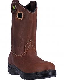 John Deere Men's Whiskey Amarillo Waterproof Leather Work Boots - Steel Toe