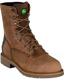 "John Deere Men?s WCT 8"" Lace-Up Work Boots - Steel Toe"