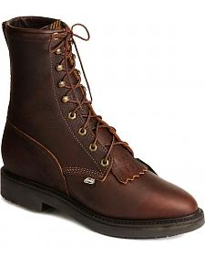 "Justin Original 8"" Lace-Up Work Boots - Steel Toe"