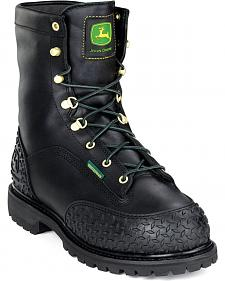 JOhn Deere Men's Black Waterproof Insulated Lace-Up Work Boots - Steel Toe