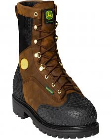 "John Deere Men's Brown 9"" Waterproof Insulated Work Boots - Steel Toe"