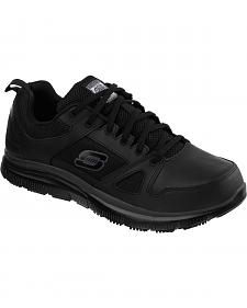 Skechers Men's Black Flex Advantage Slip Resistant Work Shoes