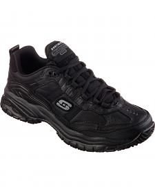 Skechers Men's Black Soft Stride Mavin Slip Resistant Work Shoes