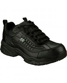 Skechers Men's Black Soft Stride Slip Resistant Work Shoes - Steel Toe