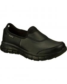 Skechers Women's Black Sure Track Slip Resistant Slip-On Work Shoes