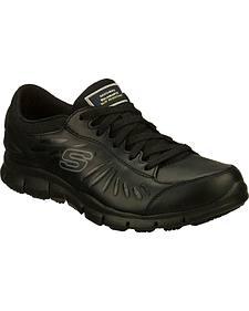 Skechers Women's Black Eldred Slip Resistant Work Shoes