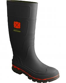 Twisted X Men's Black Rubber Boots - Steel Toe