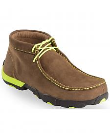 Twisted X Men's Brown & Neon Yellow Lace-Up Driving Mocs - Steel Toe
