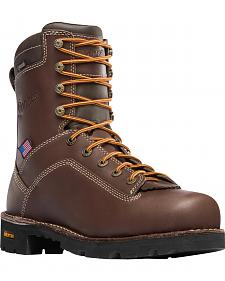 "Danner Men's Brown Quarry USA 8"" Work Boots - Soft Round Toe"