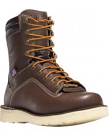 "Danner Men's Brown Quarry USA 8"" Wedge Work Boots - Soft Round Toe"