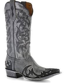 Moonshine Spirit Men's Distressed Grey Cowboy Boots - Snip Toe