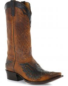 Moonshine Spirit Men's Eagle Overlay Western Boots - Snip Toe