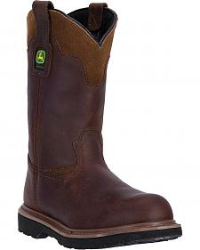 "John Deere Men's Brown 11"" Pull-On Work Boots - Steel Toe"