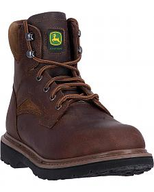 "John Deere Men's Brown 6"" Work Boots - Steel Toe"