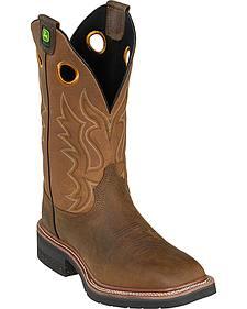 John Deere Men's Khaki Pull-On Cowboy Boots - Square Toe
