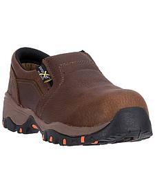 McRae Women's Brown MetGuard Slip-On Work Shoes - Composite Toe