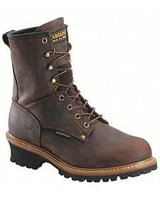 Carolina Men's Brown Waterproof Logger Boots- Steel Toe