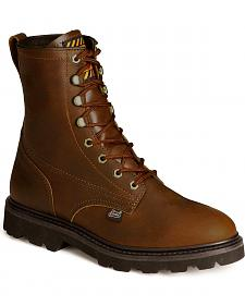 "Justin Premium 8"" Lace-Up Work Boots - Round Toe"