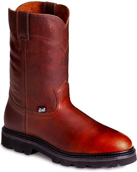 Justin Premium Pull-On Work Boots - Round Toe