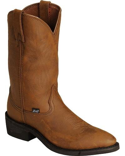 Justin Mens Ranch & Road Cowboy Work Boots
