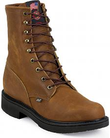 "Justin Original 8"" Lace-Up Work Boots - Round Toe"