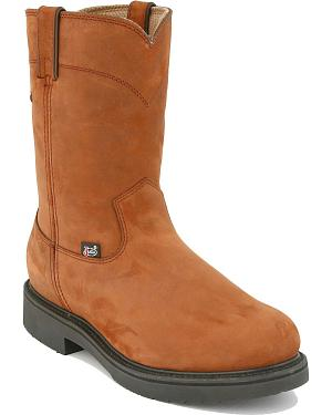 Justin Pull-On Waterproof Work Boots - Round Toe