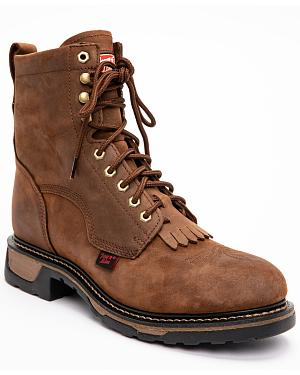 "Tony Lama 8"" Lace-Up Work Boots - Steel Toe"