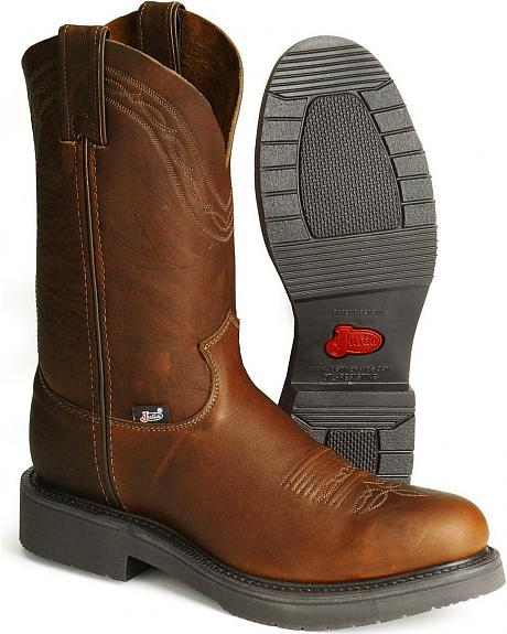 Justin Pull-On Western Work Boots - Steel Toe