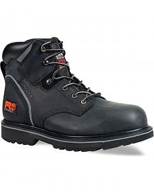 "Timberland PRO Black Pit Boss 6"" Lace-Up Work Boots - Steel Toe"