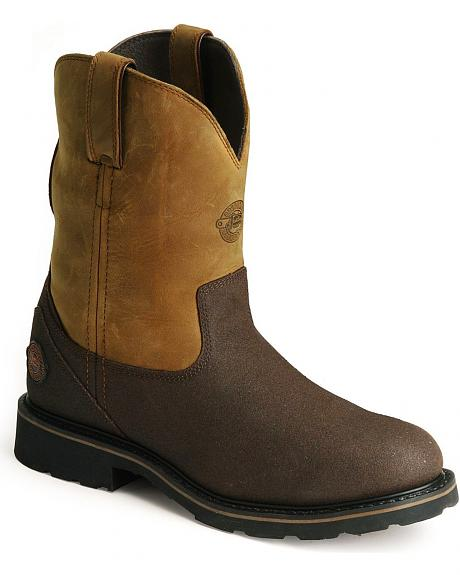 Justin WorkTek Pull-On Work Boots - Steel Toe