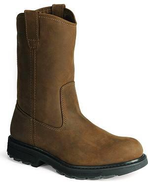Wolverine Nubuck Wellington Pull-On Work Boots - Round Toe